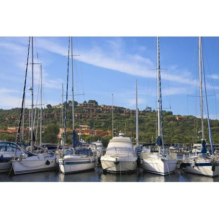 Marina and Perched Village, Ottiolu Harbour, Costa Degli Oleandri, Sardinia, Italy, Mediterranean Print Wall Art By Guy Thouvenin