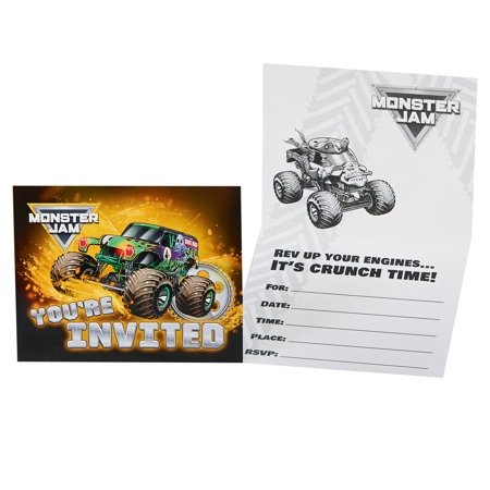 Monster Party Invitation - Monster Jam Party Supplies 16 Pack Invitations