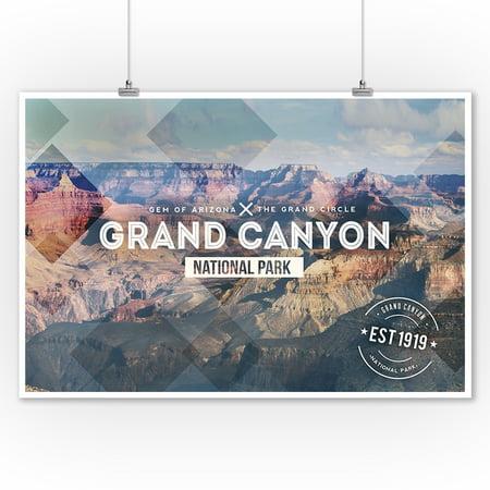 Grand Canyon National Park - Rubber Stamp - Lantern Press Poster (9x12 Art Print, Wall Decor Travel
