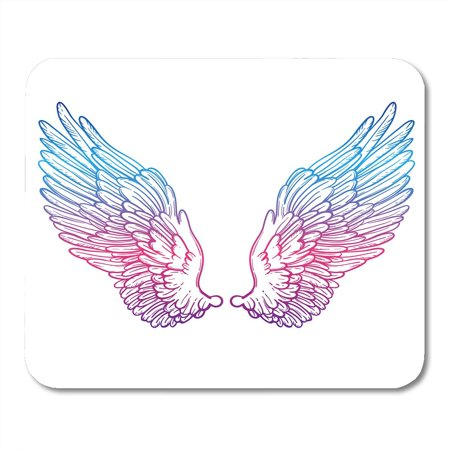 KDAGR Line of Angel Wings Sketch for Dotwork Tattoo Hipster Design Vintage Style Coloring Book and Adults Mousepad Mouse Pad Mouse Mat 9x10 inch - Superman Tattoo With Angel Wings