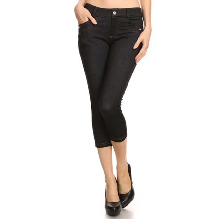 Women Standard Capri Jean Look Jeggings Soft Skinny Stretch Pants Standard Womens Snowboard Pants