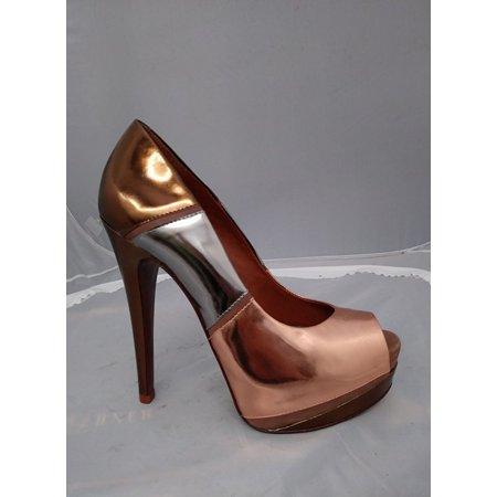 Schutz Sarytta SOR Bronze Silver Rose Gold Metallic Platform Peep Toe Heels (9)