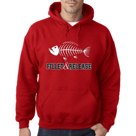 036 - Hoodie Fillet & Release Fishing Fish Bones Skeleton Sweatshirt