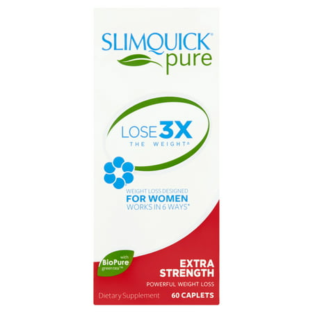 Slimquick Pure Extra Strength Powerful Weight Loss Caplets For Women, 60