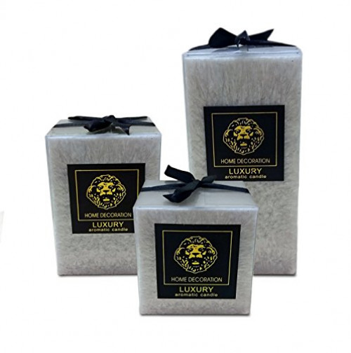 Scented Pillar Candles set of 3 square Candles 3,4 & 6 inches tall Gift wrapped (Grey)