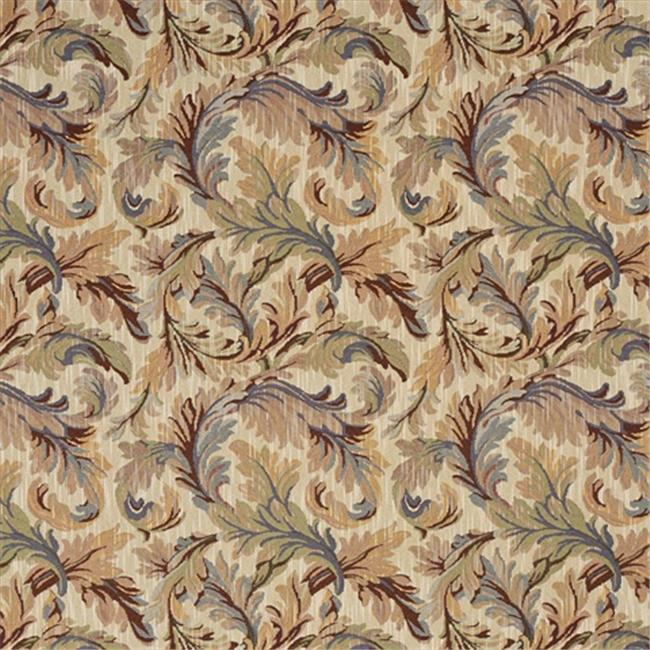 Designer Fabrics F904 54 in. Wide Burgundy, Blue And Green, Floral Leaves Tapestry Upholstery Fabric
