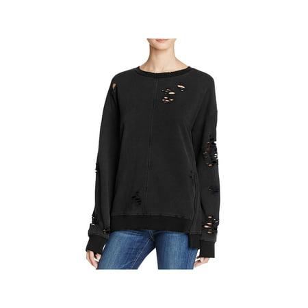 Denim Ribbed Sweatshirt (Joe's Jeans Womens Lyndon Destroyed Side Zip Sweatshirt )