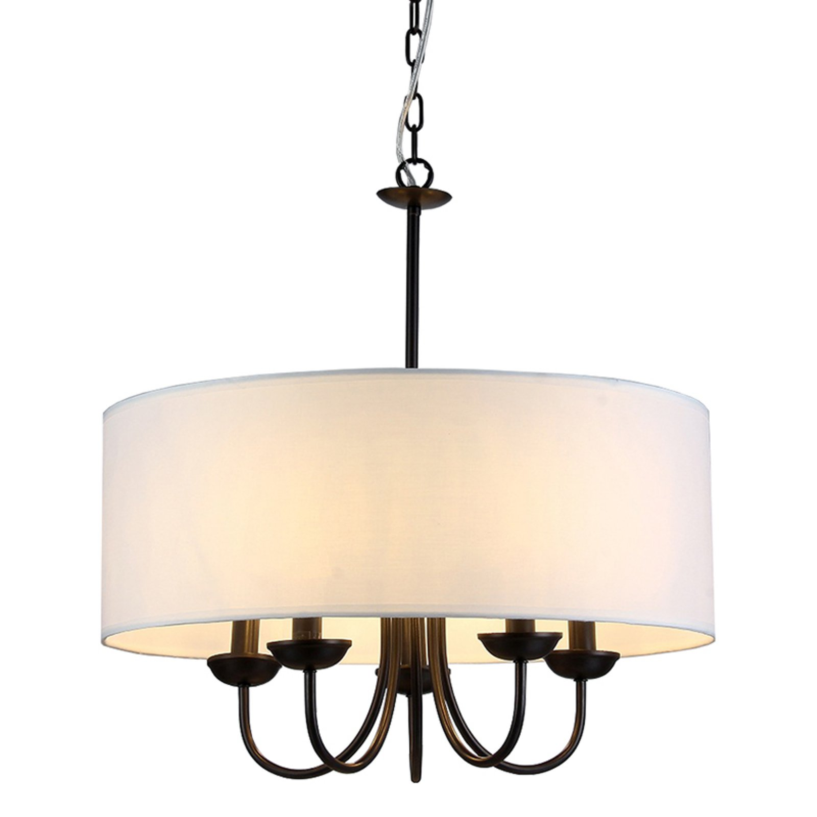 Click here to buy Gwenevere 5-light White Fabric 22-inch Black-finish Chandelier by Supplier Generic.