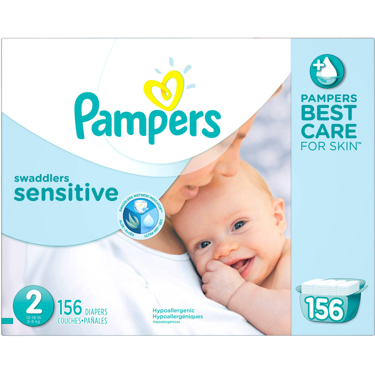 Pampers Swaddlers Sensitive Diapers - Size 2(12 - 18 Lbs) - 156ct (s1403)