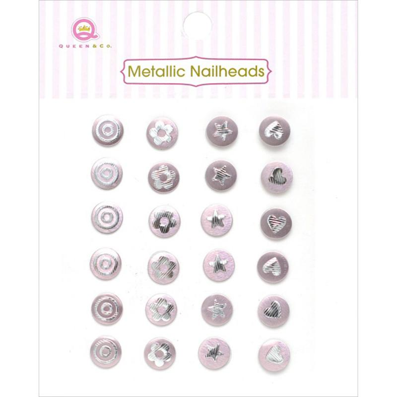 Queen & Co Metallic Nailheads Self-adhesive 24/pkg-pink