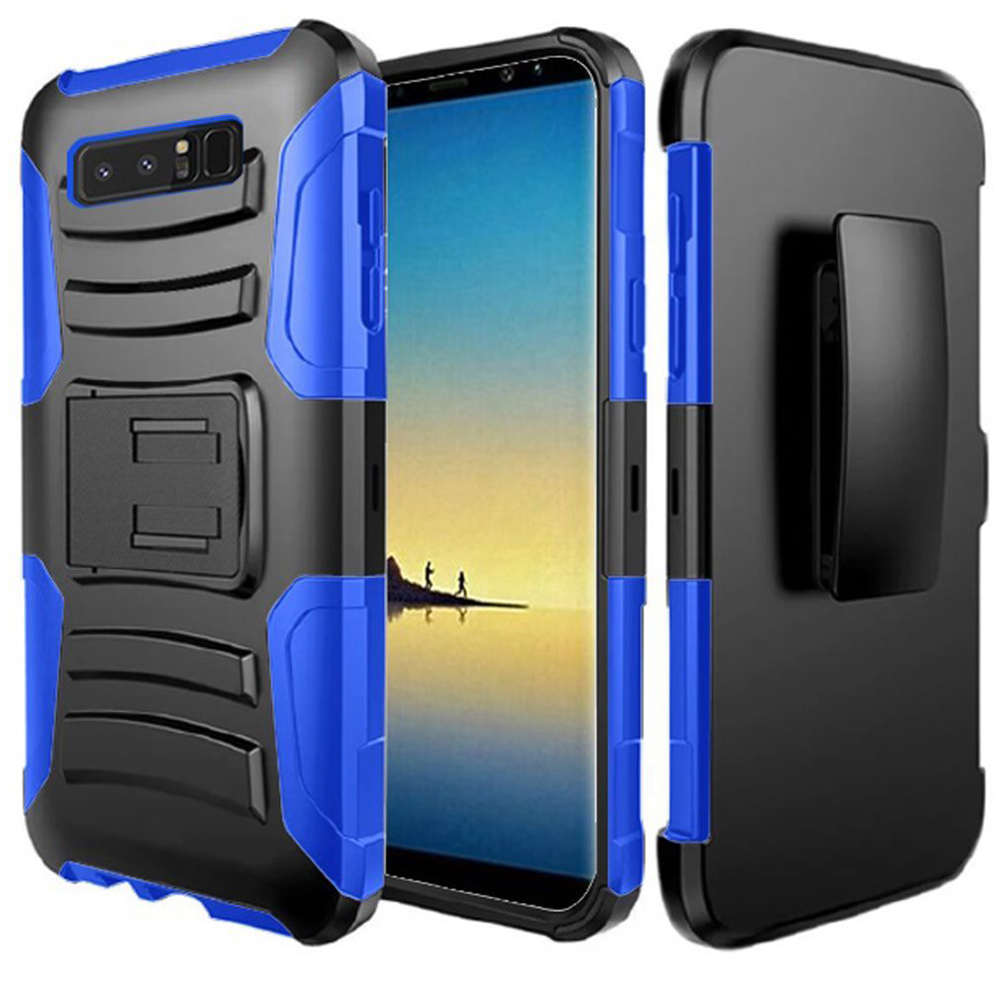Samsung Galaxy Note 8 Case, Hybrid Rugged Heavy Duty Armor Defender Dual Layer Kickstand Belt Clip Holster Combo for Samsung Galaxy Note 8 - Black/ Dark Blue