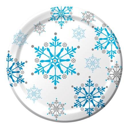 Club Pack of 96 Blue Snowflake Swirls Ensemble Disposable Paper Party Dinner Plates - Party Paper Plates