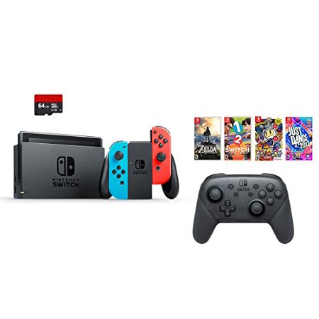 Nintendo Swtich 7 Items Bundle Nintendo Switch 32Gb Console Red And Blue 64Gb Sd Card Nintendo Switch Pro Wireless Controller 4 Game Disc1 2 Switch Just Dance2017 The Legend Of Zelda Super Bomberman R