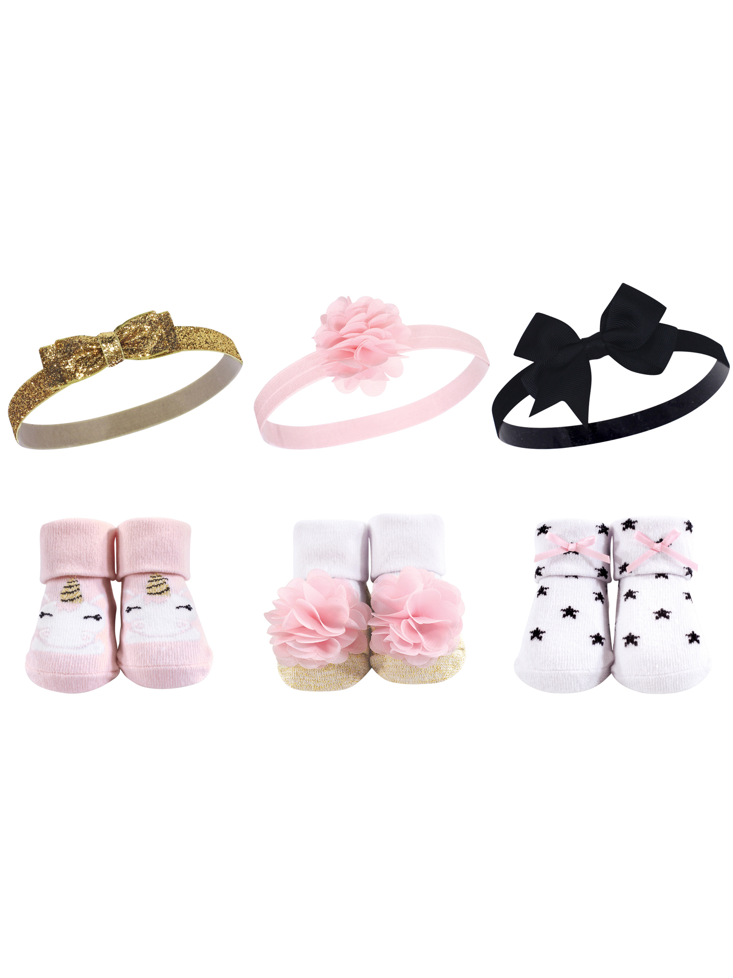 Headband and Socks Set 6pc (Baby Girls)
