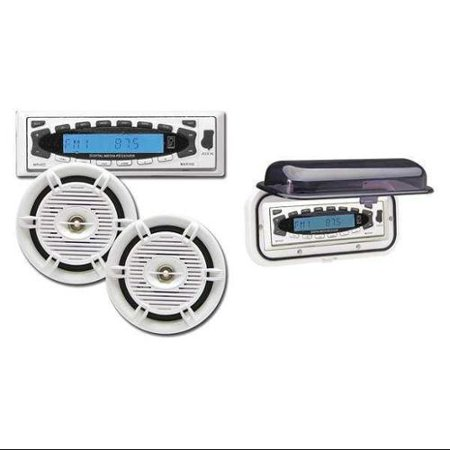 POLY-PLANAR MR45DW-CPAK Marine Stereo, White, Water Resistant G0156086