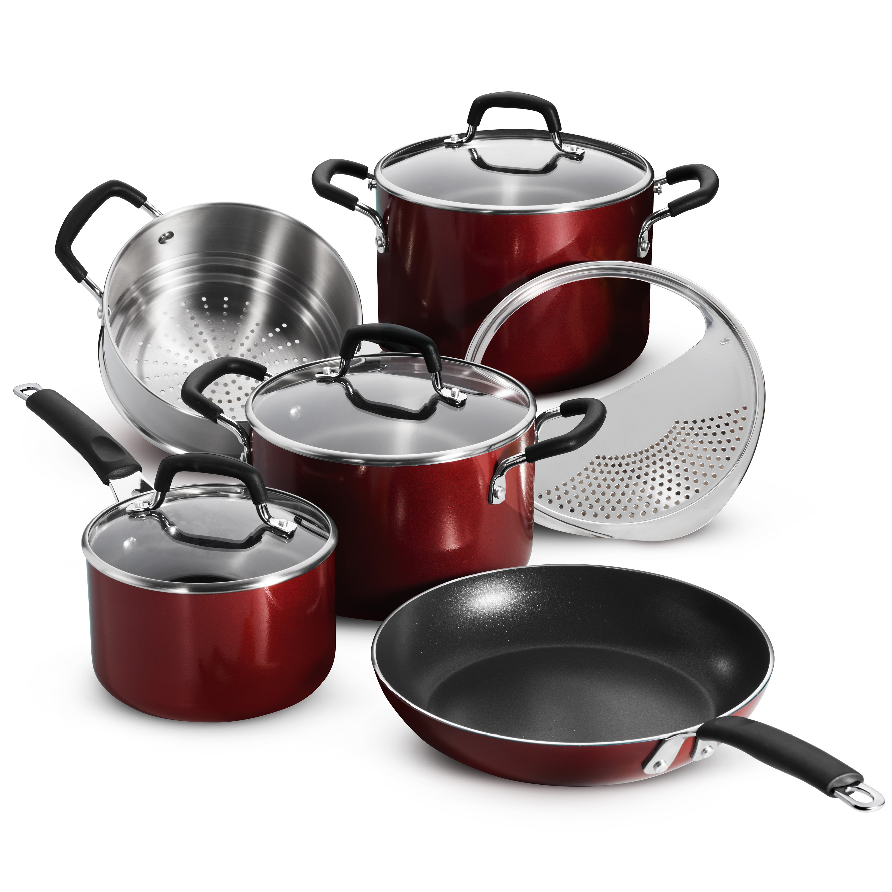 Tramontina 9 Pc Porcelain Enamel Nonstick Cookware Set - Red Rhubarb