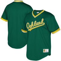 Oakland Athletics Mitchell & Ness Youth Cooperstown Collection Mesh Wordmark V-Neck Jersey - Green