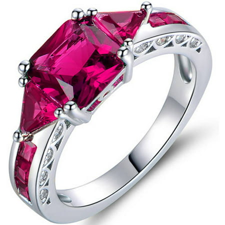 4 Carat T.G.W. Ruby 18kt White Gold-Plated - Sun Ruby Ring