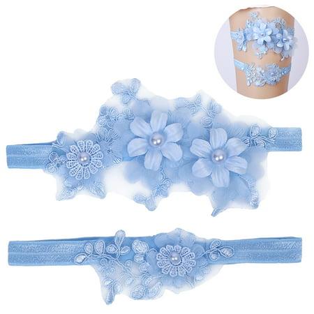2PCS Womens Wedding Garter Set Elastic Flower Pearl Leg Ring Lace Bridal Garter for Party Ribbon Wedding Garter