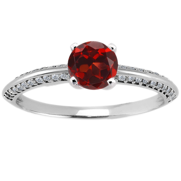 0.94 Ct Round Red Garnet Diamond 18K White Gold Ring