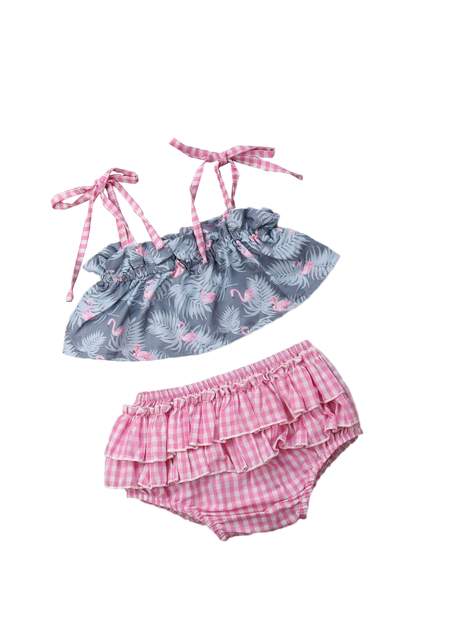 18m Unique Baby Girls Summer Vibes Flamingo 3pc Outfit with Headband