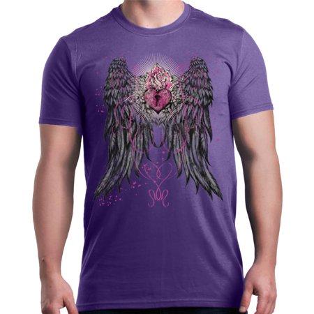 shop4ever men 39 s angel wings keyhole pink heart mystical graphic t shirt. Black Bedroom Furniture Sets. Home Design Ideas