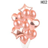 KABOER New Style Rose Gold Heart Balloon Foil Champagne Star Balloons Wedding Party Decor Latex Ballon for Birthday Party Decorations