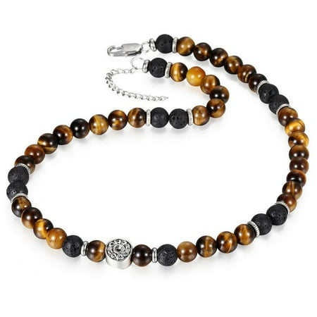 Natural Tiger Eyes stone Lava Bead Choker Necklace for Men Women Stainless Steel Beaded Charm 18inch w 2inch Extension