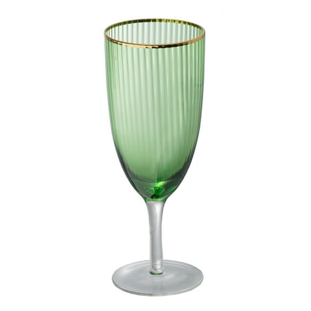 Set Of 2 Green Goblet, Gold Rim D3x8