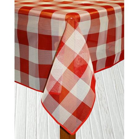 Lintex Buffalo Check Tablecloth - Lintex Linens Bistro Check Indoor/Outdoor Table Cloth, Red