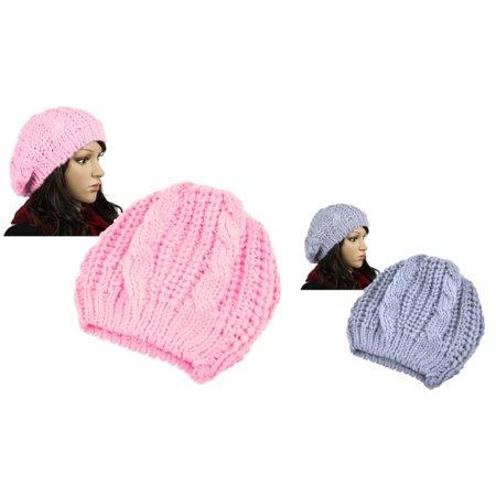 Zodaca 2 Piece Set Unisex Womens Mens Winter Warm Knit Beret Hat Beanie Crochet Ski Baggy Ball Cap Hat (Pink+Light Gray)
