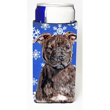 Staffordshire Bull Terrier Staffie Winter Snowflakes Michelob Ultra bottle sleeves Slim Cans  12 Oz.