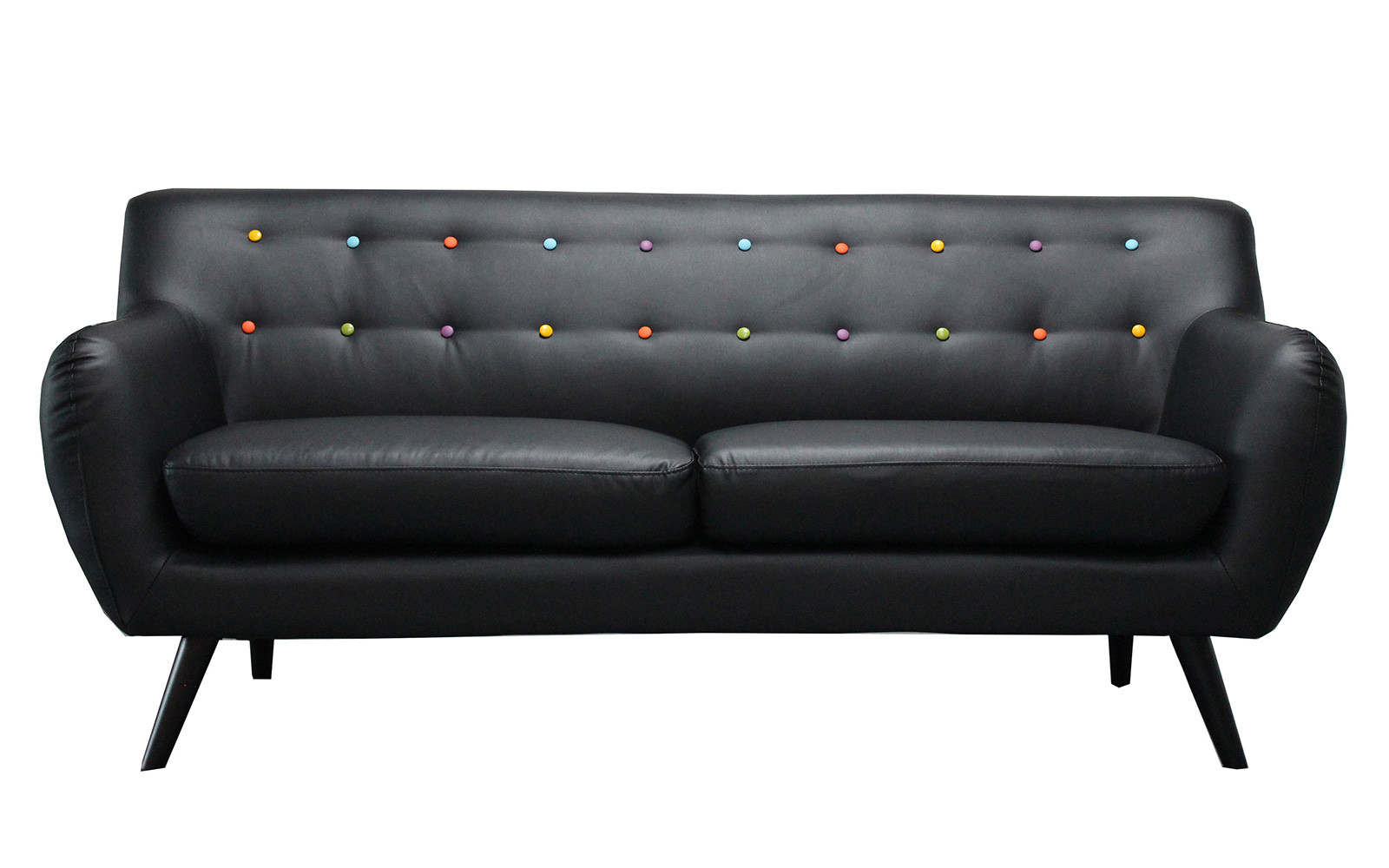Mid Century Modern Tufted Bonded Leather Sofa - Walmart.com