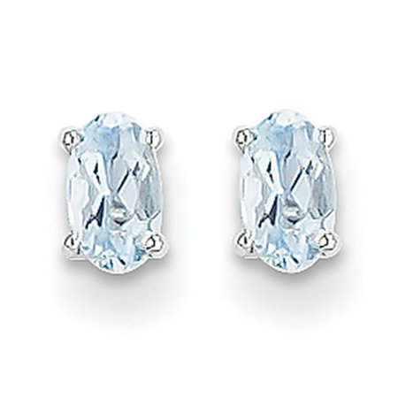 14k White Gold Polished 5mm x 3mm Oval Shaped Aquamarine Post Earrings Shaped Aquamarine Earrings
