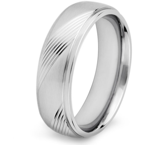 Crucible Stainless Steel Alternating Solid and Diagonal Grooved Ring