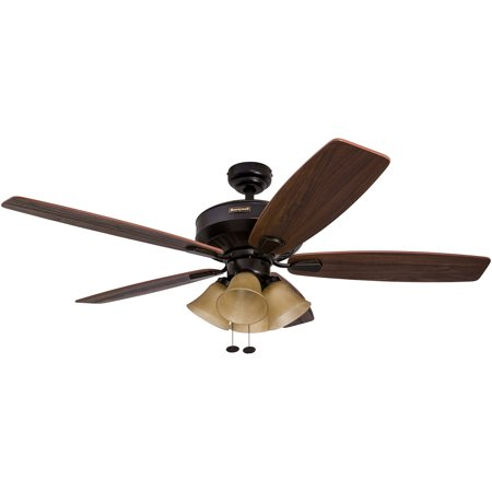 "52"" Honeywell Birnham Oil Rubbed Bronze Ceiling Fan with 4 Light"