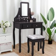 Jaxpety Vanity Dressing Table Set 360 Rotate Rectangle Mirror Girls Make Up Vanity Set w/Stool Brown