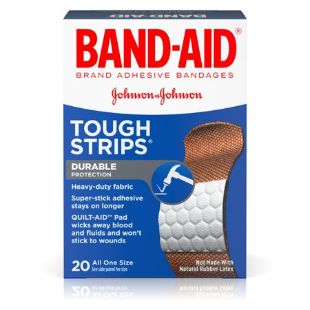 BAND-AID ® Brand TOUGH-STRIPS ® Adhesive Bandages, Durable Protection for Minor Cuts and Scrapes, 20 Count