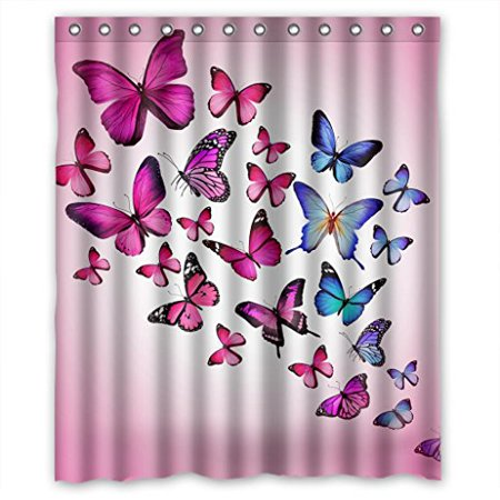 MOHome Pink Butterfly Purple Butterfly Pink Background Shower Curtain Waterproof Polyester Fabric Shower Curtain Size 60x72 inches ()
