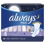 ALWAYS Maxi Size 5 Extra Heavy Overnight Pads With Wings Unscented, 20 Count