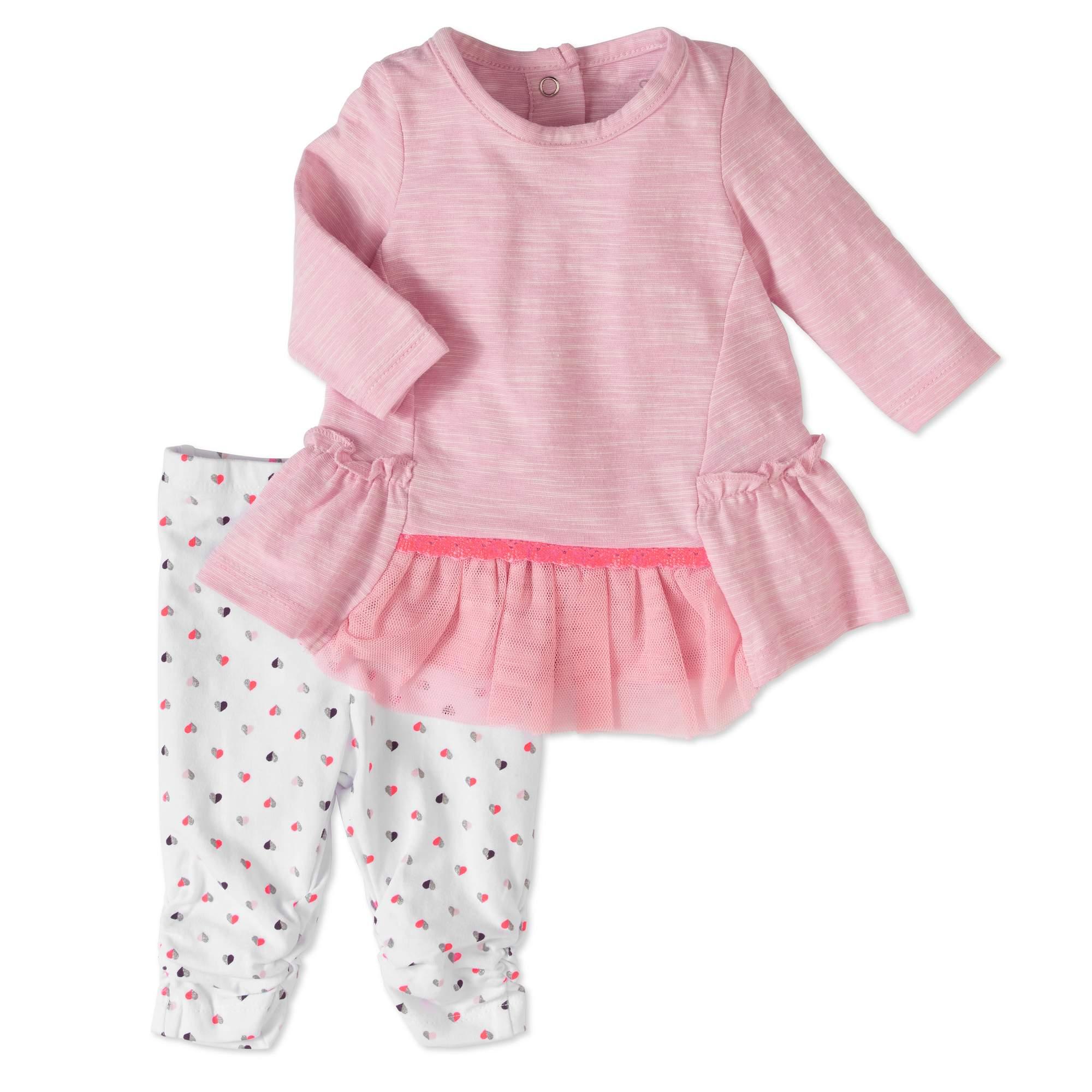 Cherokee Newborn Baby Girls Mesh Tulle Dress and Leggings