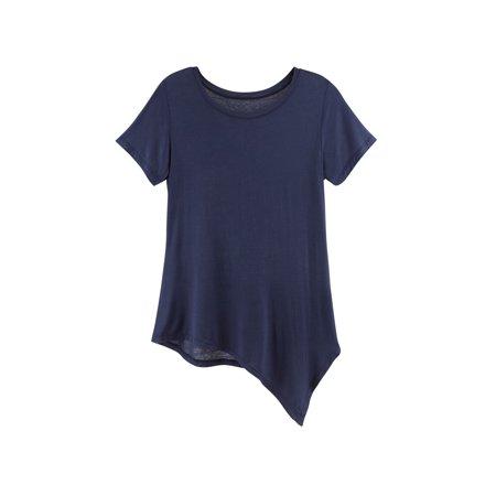 JOH Women's Soft Tunic T-Shirt - Bias-Cut Asymmetrical Hem Tee With A Twist