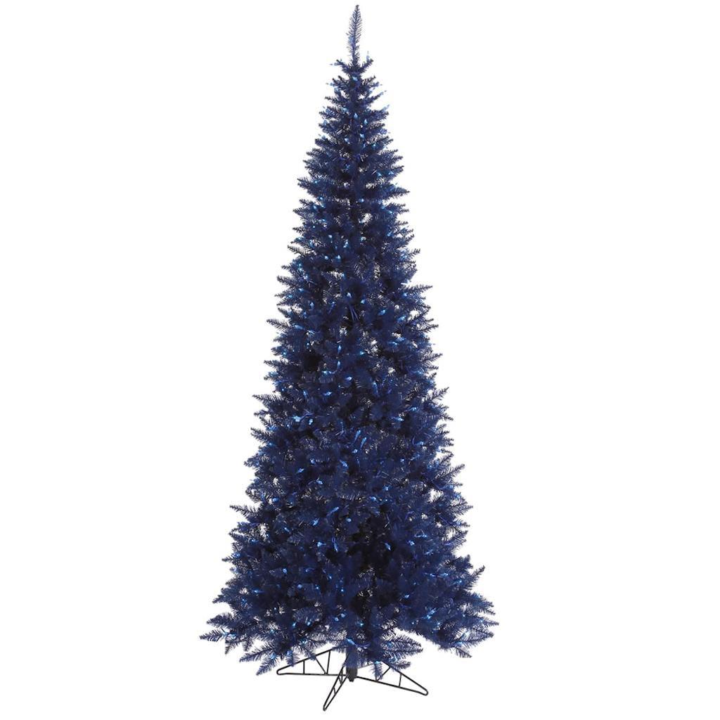 "Vickerman 430835 - 6.5' x 34"" Navy Blue Slim Fir Tree with 400 Blue Lights Christmas Tree (K160566)"