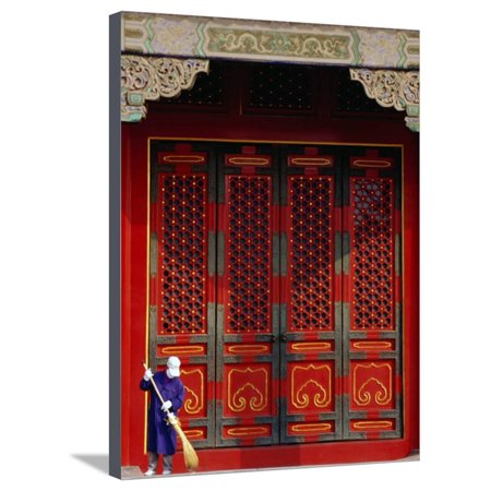 Cleaner Sweeps Steps Inside the Forbidden City, Beijing, China, Stretched Canvas Print Wall Art By Phil Weymouth (Forbidden City Beijing China)