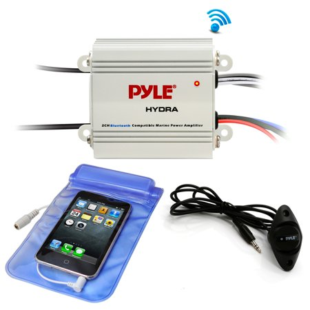 Pyle Auto 2-Channel Bridgeable Marine Amplifier - 200 Watt RMS 4 OHM Full Range Stereo with Wireless BT and Powerful Prime Speaker - High Crossover HD Music Audio Multi Channel System