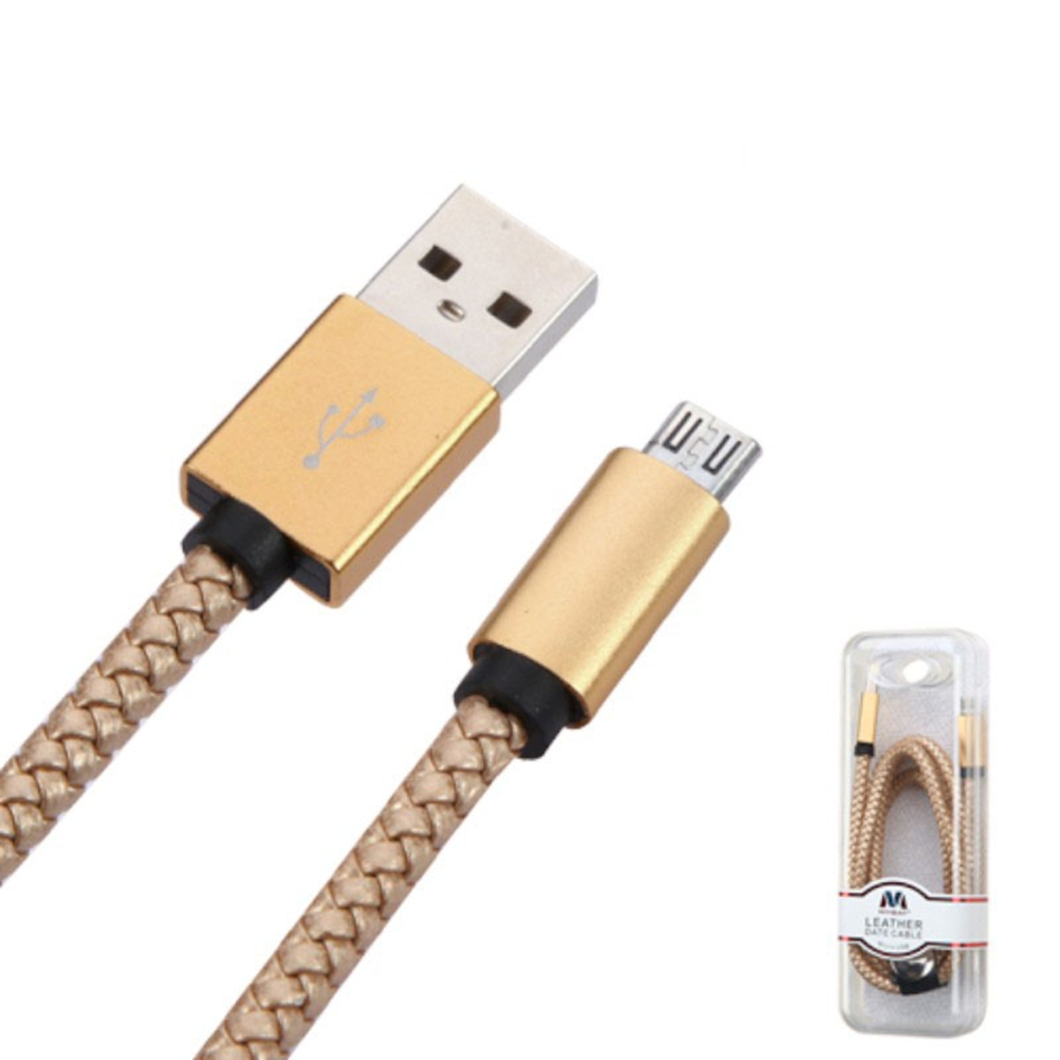 Insten 3.3' Micro USB Braided Leather Data Charging Cable For Samsung Galaxy J7 J5 J1 E5 LG Leon K7 V10 G Stylo 2 - Gold