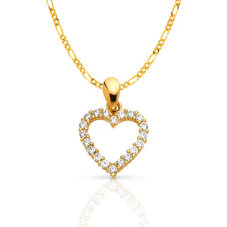 14K Yellow Gold Open Fancy Heart Round Cut Cubic Zirconia CZ Charm Pendant with 1.6mm Figaro 3+1 Chain (Gold Round Cut Heart)