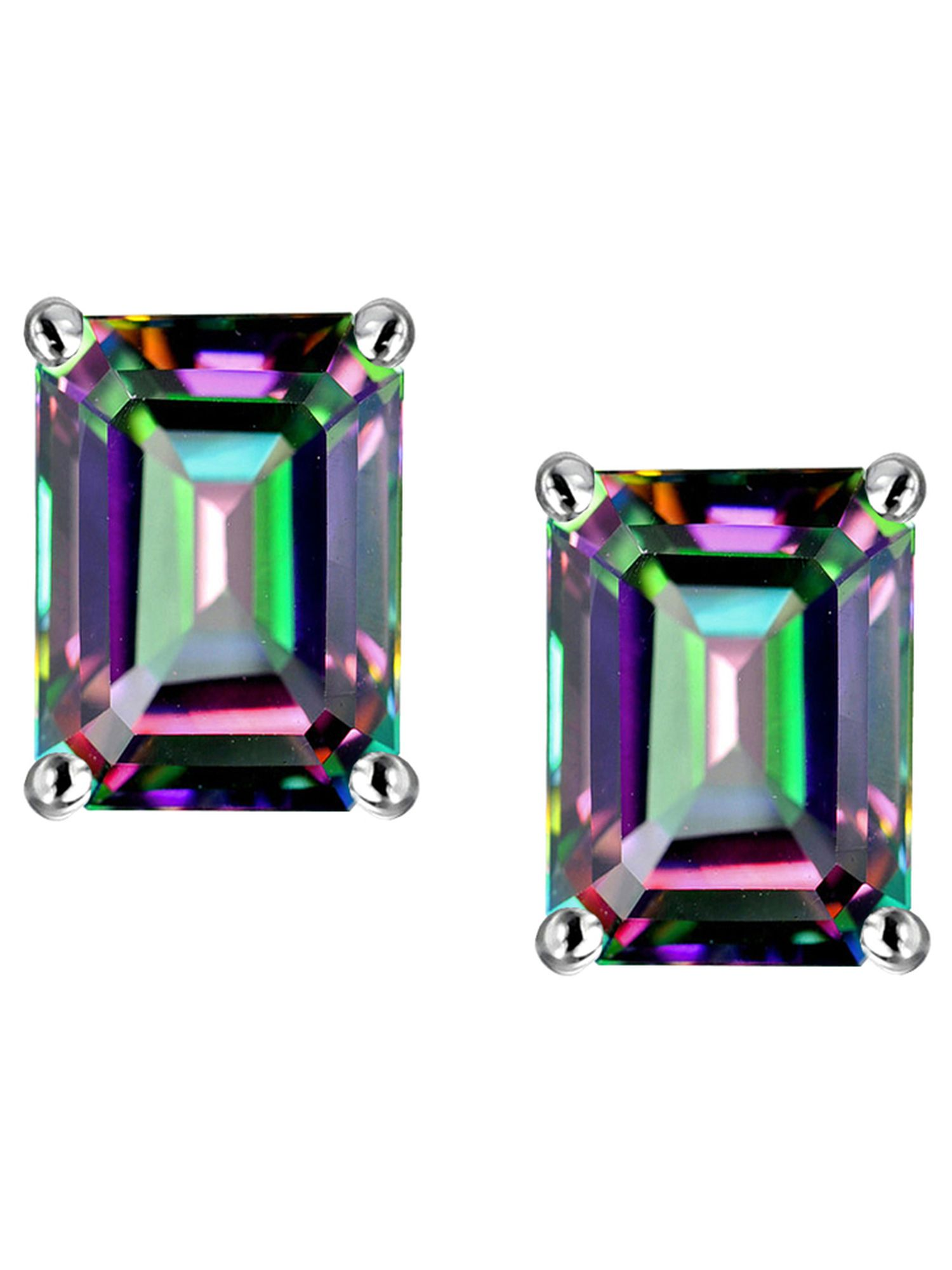 Star K Emerald Cut 7x5mm Rainbow Mystic Topaz Earrings Studs in 10 kt White Gold