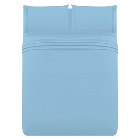 "The Great American Store 1800 Series - 4 PC Brushed Microfiber Waterbed Sheet Set - 15"" Deep Pocket Attached (Solid, Light Blue , Queen )"