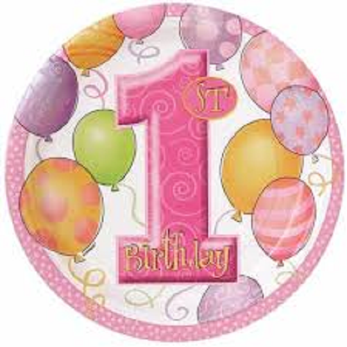 "9"" Pink Balloons 1st Birthday Party Plates, 8ct"